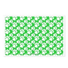 Dog Paws Green Postcards (Package of 8)
