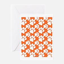 Dog Paws Clemson Orange Greeting Card