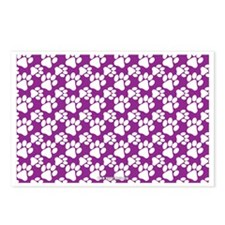 Dog Paws Purple Postcards (Package of 8)