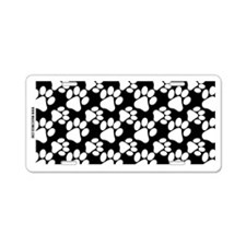 Dog Paws Black Aluminum License Plate