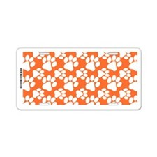Dog Paws Clemson Orange Aluminum License Plate