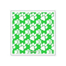 "Dog Paws Green Square Sticker 3"" x 3"""