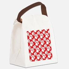 Dog Paws Red Canvas Lunch Bag