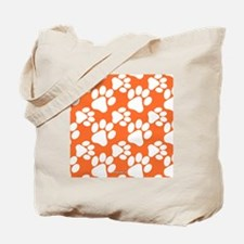 Dog Paws Clemson Orange Tote Bag