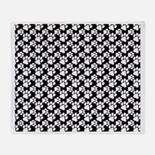 Dog Paws Black Throw Blanket