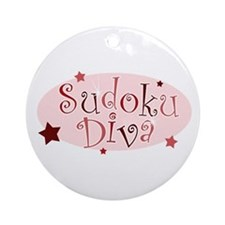 """Sudoku Diva"" [red] Ornament (Round)"