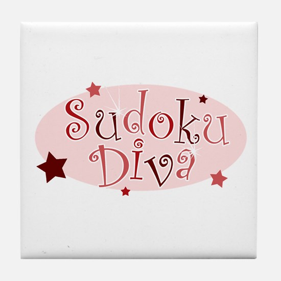"""Sudoku Diva"" [red] Tile Coaster"