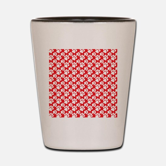 Dog Paws Red Shot Glass
