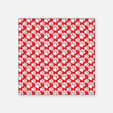 "Dog Paws Red Square Sticker 3"" x 3"""