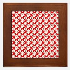 Dog Paws Red Framed Tile