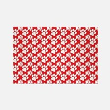 Dog Paws Red Rectangle Magnet