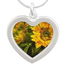 Sunflower Silver Heart Necklace