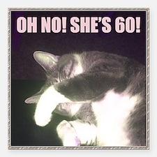 "Funny 60th Birthday (Cat Square Car Magnet 3"" x 3"""