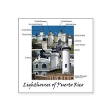 "Lighthouses of Puerto Rico Square Sticker 3"" x 3"""