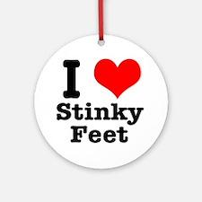 I Heart (Love) Stinky Feet Ornament (Round)