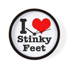 I Heart (Love) Stinky Feet Wall Clock
