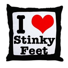 I Heart (Love) Stinky Feet Throw Pillow