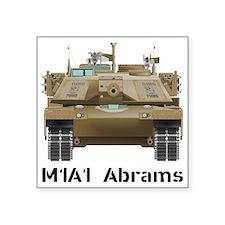 "M1A1 Abrams MBT Front View Square Sticker 3"" x 3"""