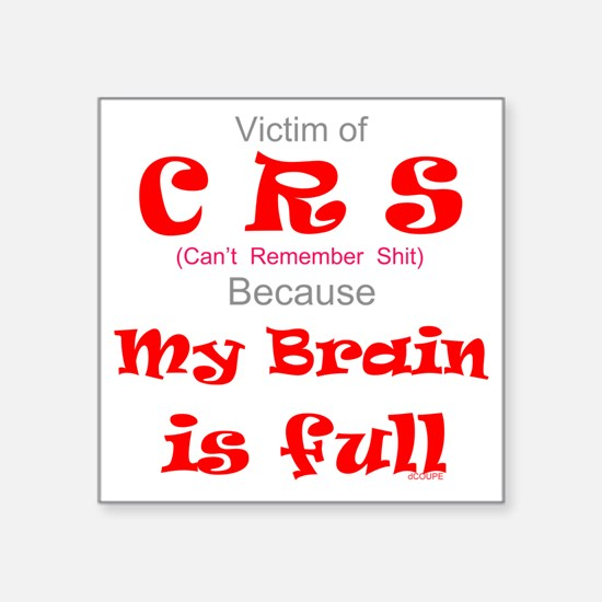 "My Brain is Full-red Square Sticker 3"" x 3"""