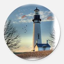 Sunset_Lighthouse Round Car Magnet