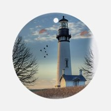 Sunset_Lighthouse Round Ornament