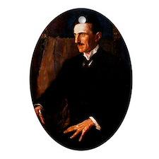 Nikola Tesla - the Blue Portrait Oval Ornament