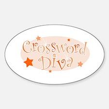 Crossword Diva [orange] Oval Decal