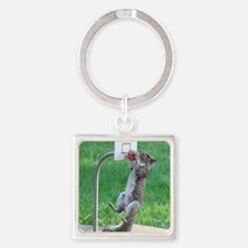 Squirrel Slam Dunking Basketball Square Keychain