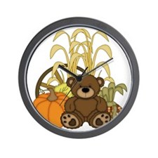 Autumn design with Pumkins and Teddy Be Wall Clock
