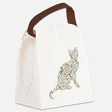 Floral Cat Canvas Lunch Bag