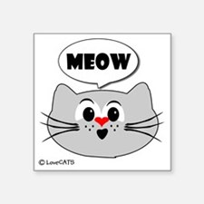 "meow love cats Square Sticker 3"" x 3"""