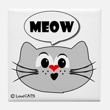 meow love cats Tile Coaster