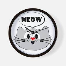 meow love cats Wall Clock