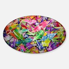 Origami Crane Madness Sticker (Oval)
