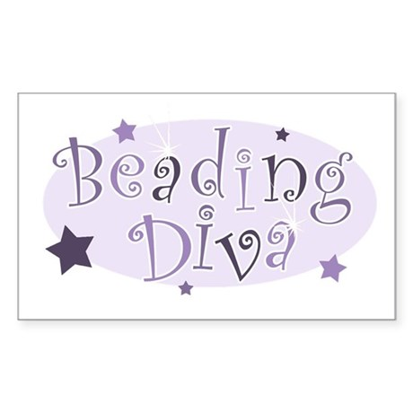 """Beading Diva"" [purple] Rectangle Sticker"