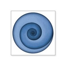 "spiral-blue-T Square Sticker 3"" x 3"""