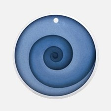 spiral-blue-T Round Ornament