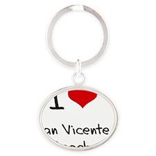 I Love SAN VICENTE BEACH Oval Keychain