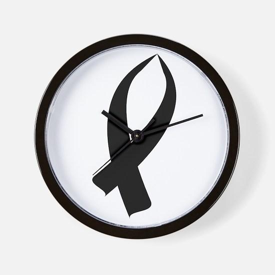 Awareness Ribbon Black Wall Clock
