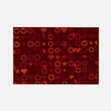 Red Stars and Hearts Woven Blanke Rectangle Magnet