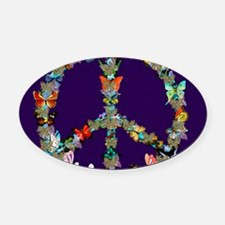 Butterfly Peace Sign Blanket 1 Oval Car Magnet