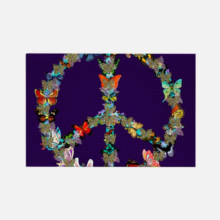 Butterfly Peace Sign Blanket 1 Rectangle Magnet