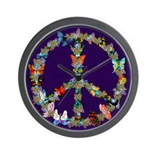 Butterfly Peace Sign Blanket 1 Wall Clock