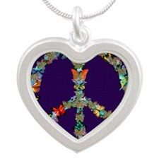 Butterfly Peace Sign Blanket Silver Heart Necklace