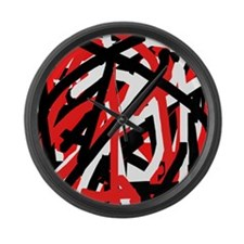 Black, red and white graffiti fli Large Wall Clock