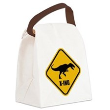 T-rex crossing Canvas Lunch Bag