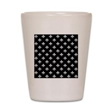 fleur de lis square white black Shot Glass