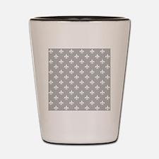 fleur de lis square white lt gray Shot Glass