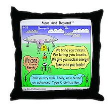 Ants Meet Aliens Throw Pillow