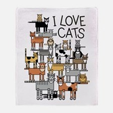 I Love Cats for Light Colors Throw Blanket
